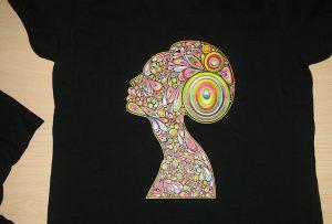 Svart t-shirt utskrift av A2 t-shirtskrivare WER-D4880T